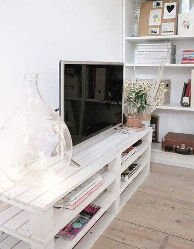 Meuble tv blanc en palette