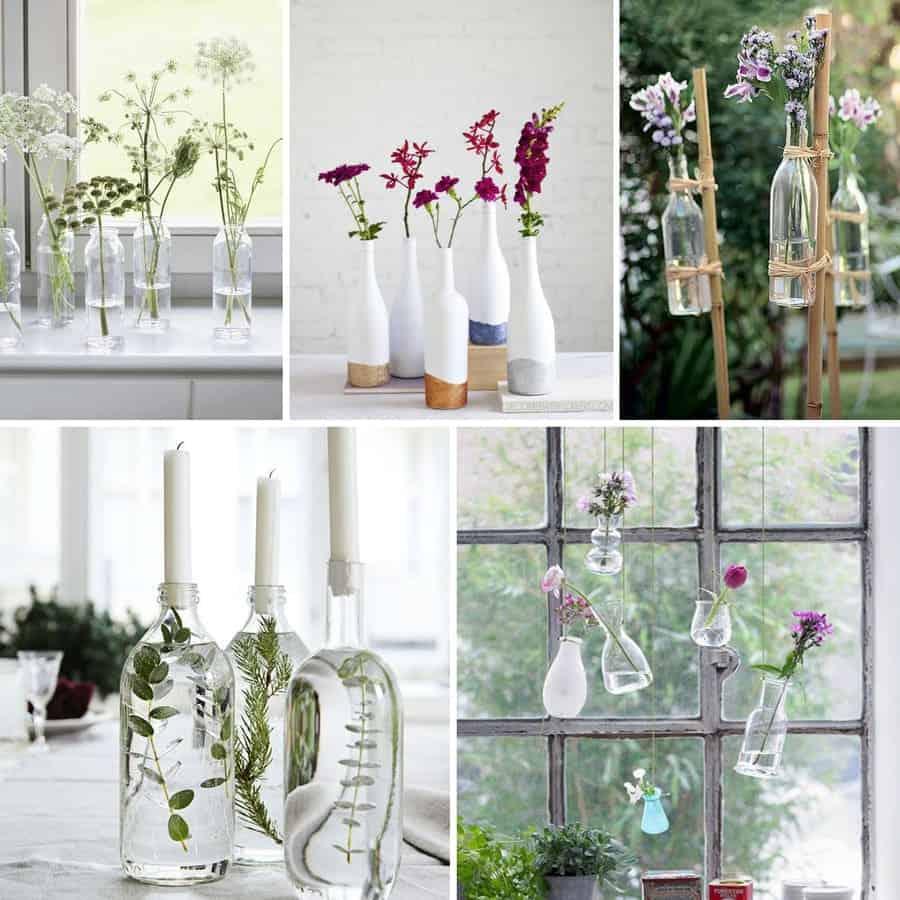 Bouteilles utilisées pour des vases